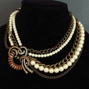 Faux pearl, crystal and chain statement necklace